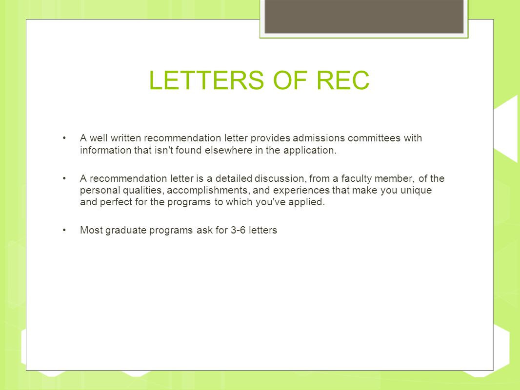 How to request a letter of recommendation ppt video online download letters of rec a well written recommendation letter provides admissions committees with information that isn t expocarfo Choice Image