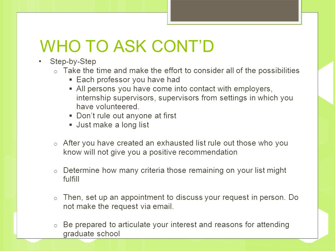 How to request a letter of recommendation ppt video online download who to ask contd step by step altavistaventures Choice Image