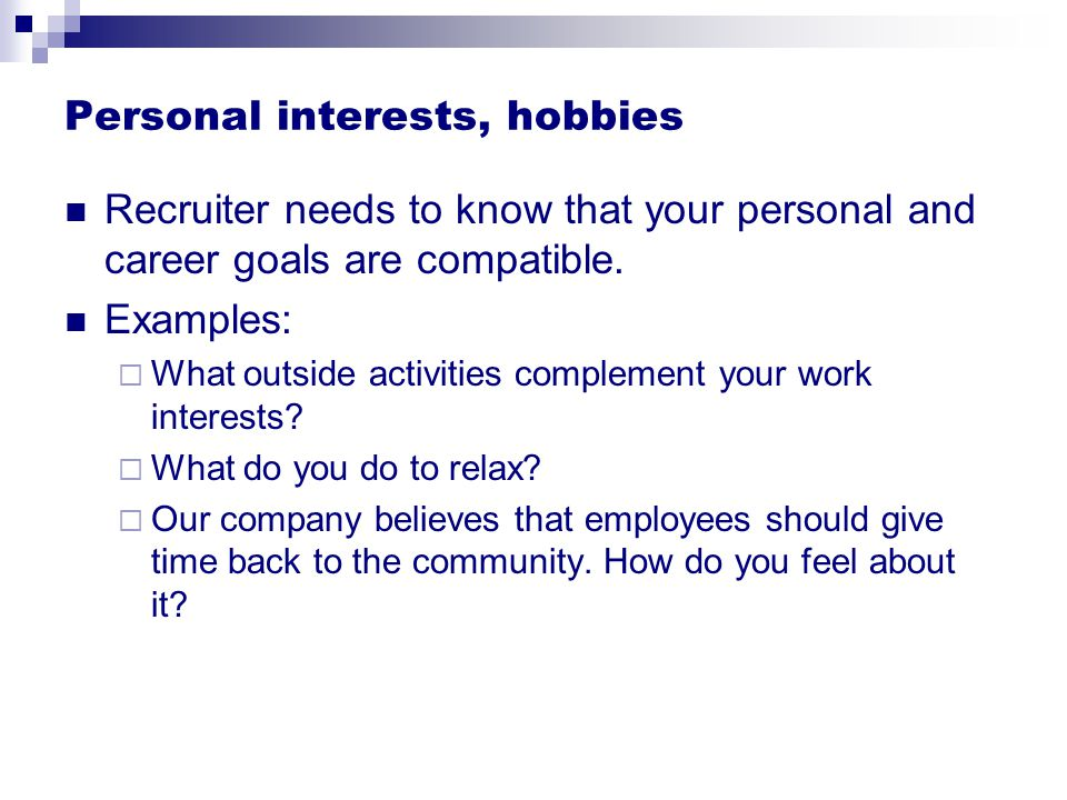 personal interests hobbies