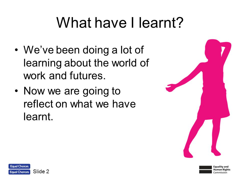 What have I learnt We've been doing a lot of learning about the world of work and futures. Now we are going to reflect on what we have learnt.