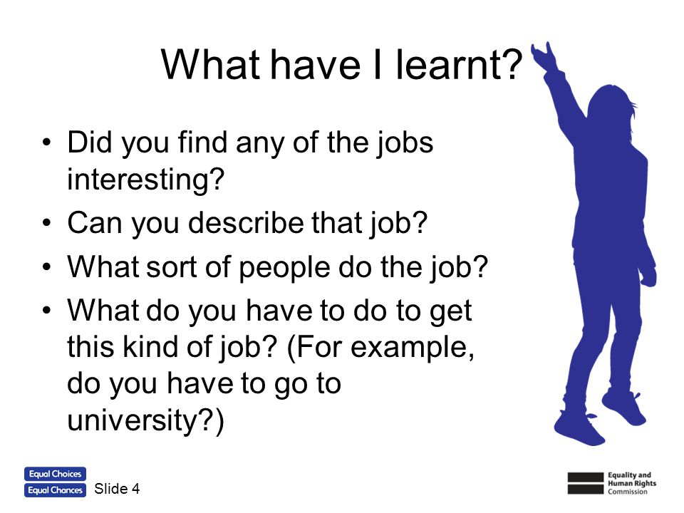 What have I learnt Did you find any of the jobs interesting