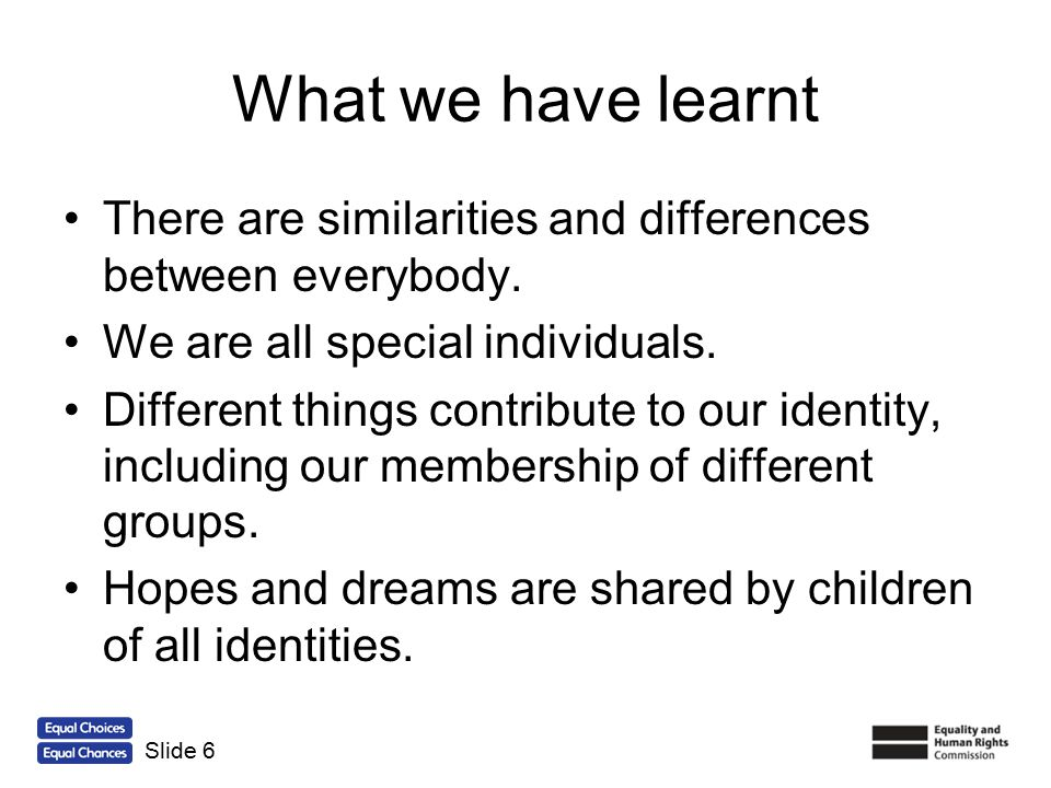 What we have learnt There are similarities and differences between everybody. We are all special individuals.