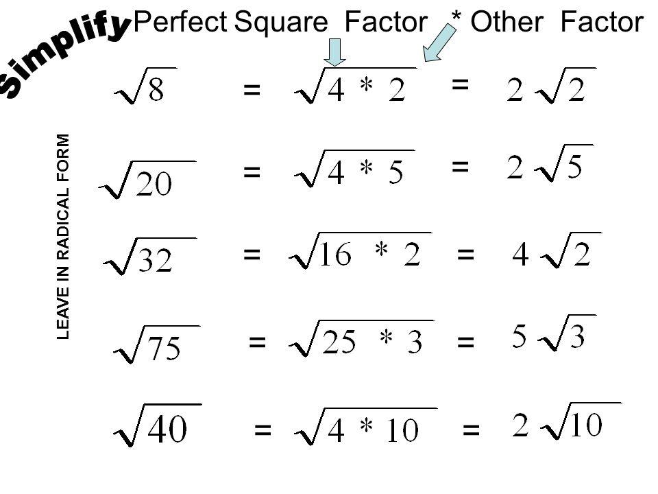 Simplifying Multiplying Rationalizing Radicals Ppt Download