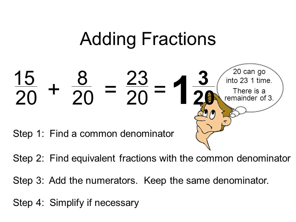 Adding Fractions can go. into 23 1 time. + = = There is a remainder of 3.