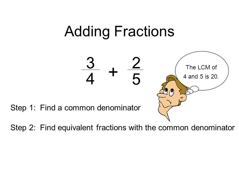 Adding Fractions Step 1: Find a common denominator