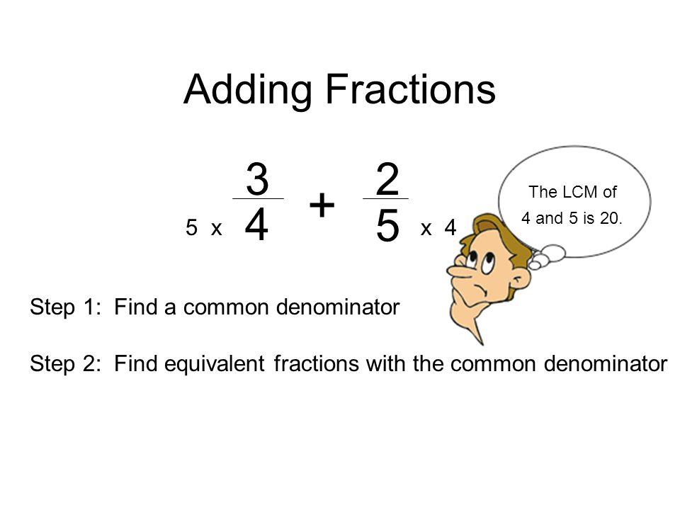 Adding Fractions 5 x x 4 Step 1: Find a common denominator