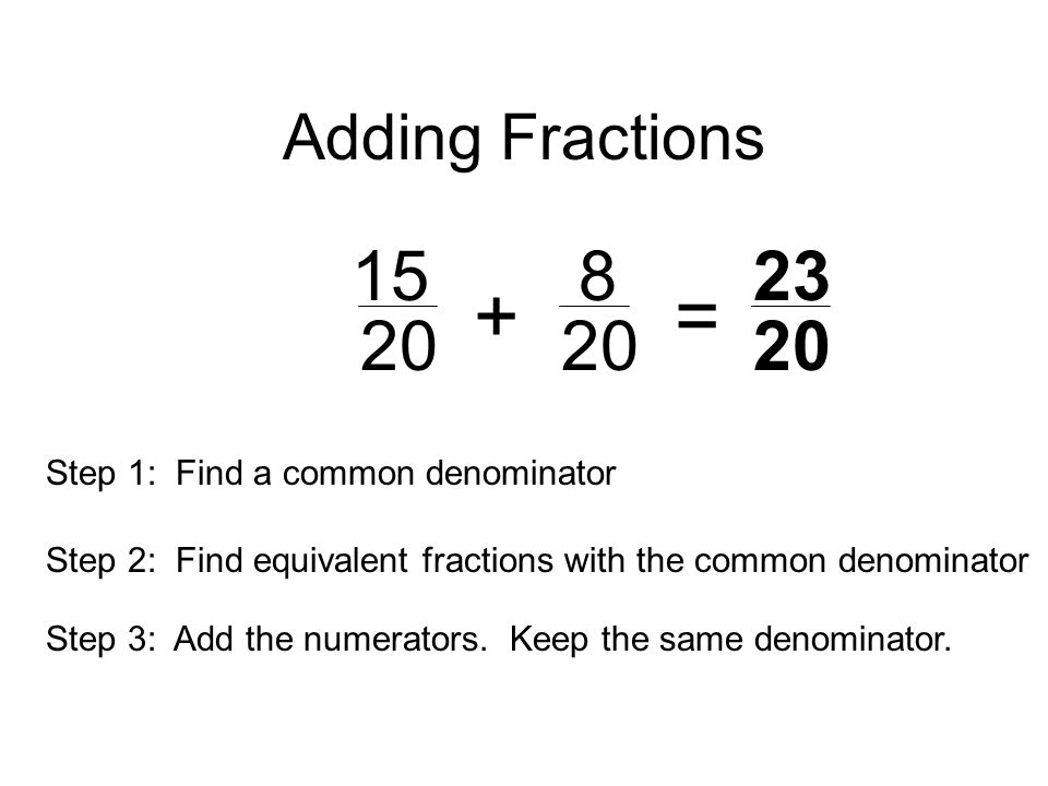 Adding Fractions = Step 1: Find a common denominator.