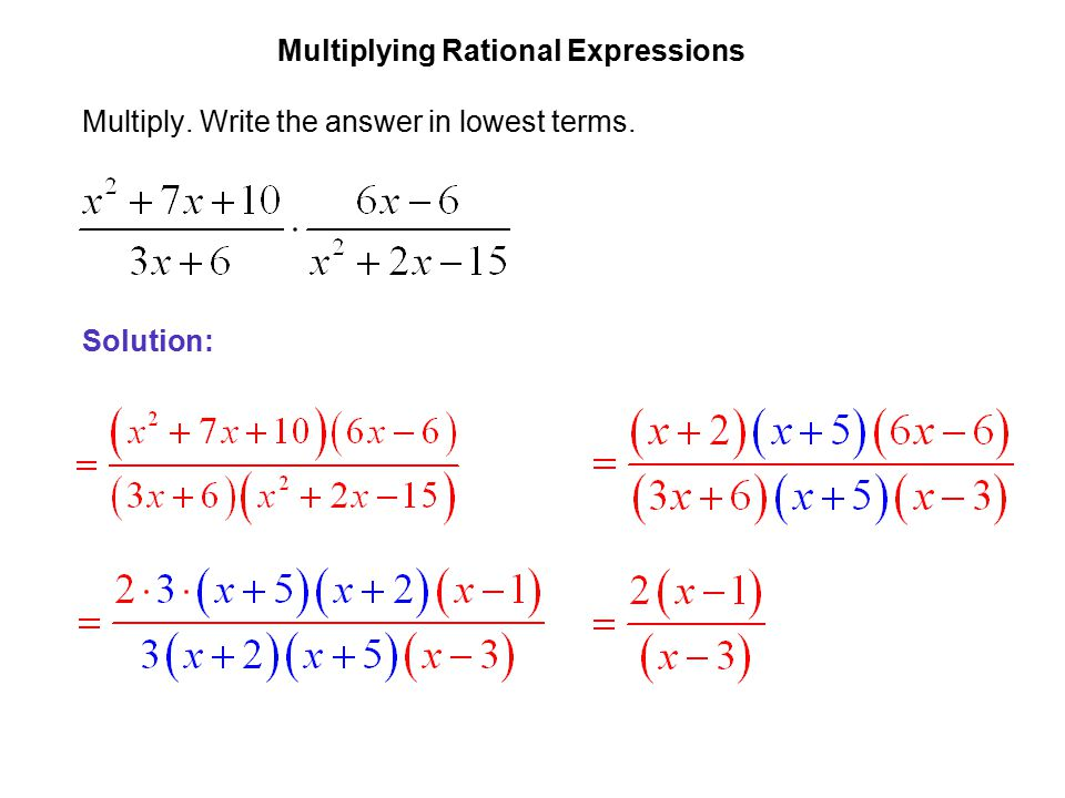 Multiplying rational expressions.