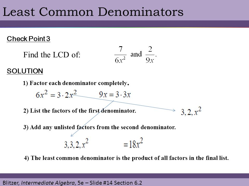 Least Common Denominators