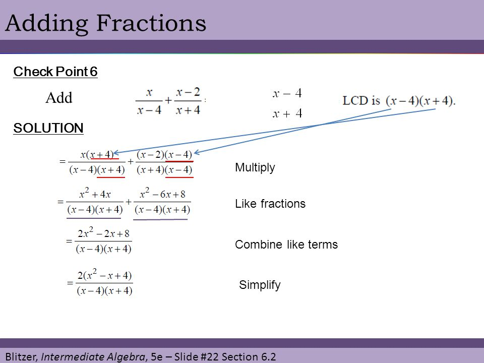 Adding Fractions Add Check Point 6 SOLUTION Multiply Like fractions