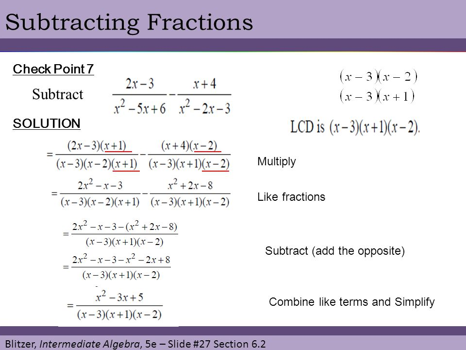 Subtracting Fractions