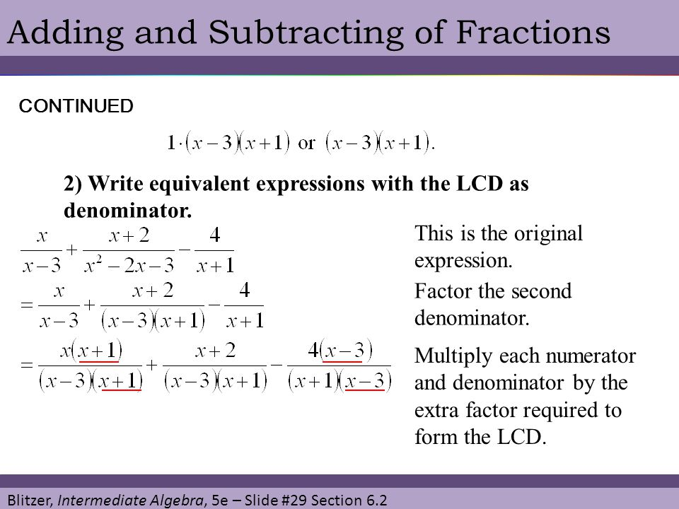 Adding and Subtracting of Fractions