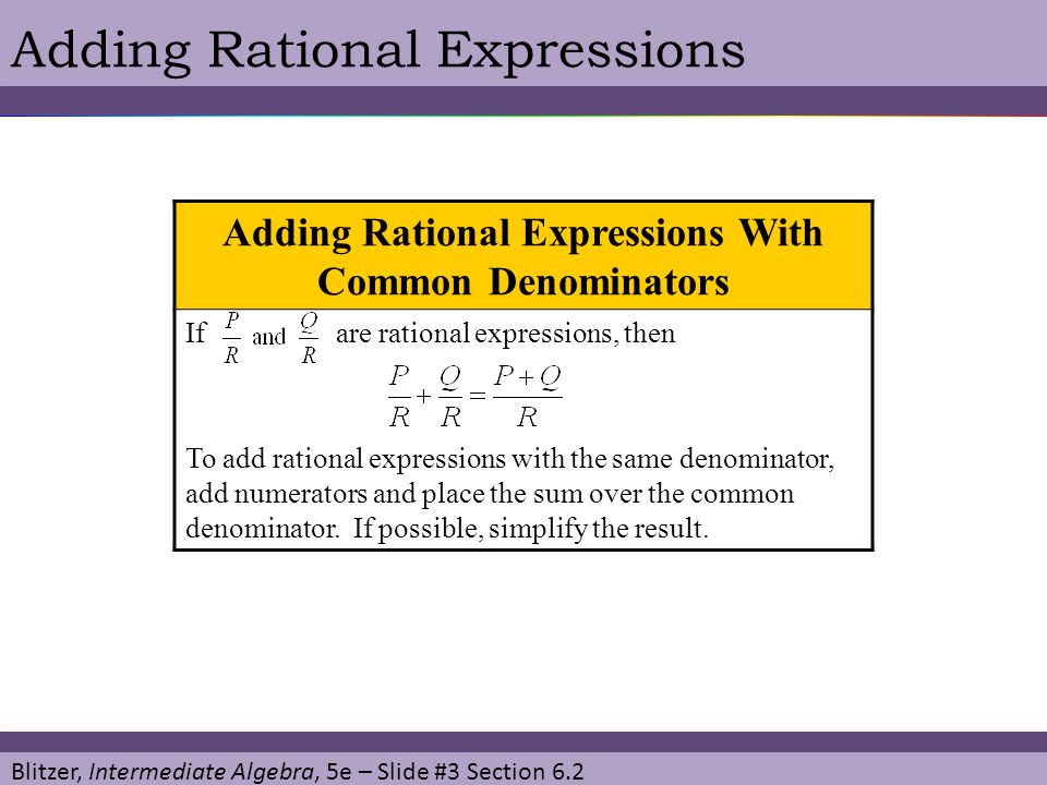 Adding Rational Expressions With Common Denominators