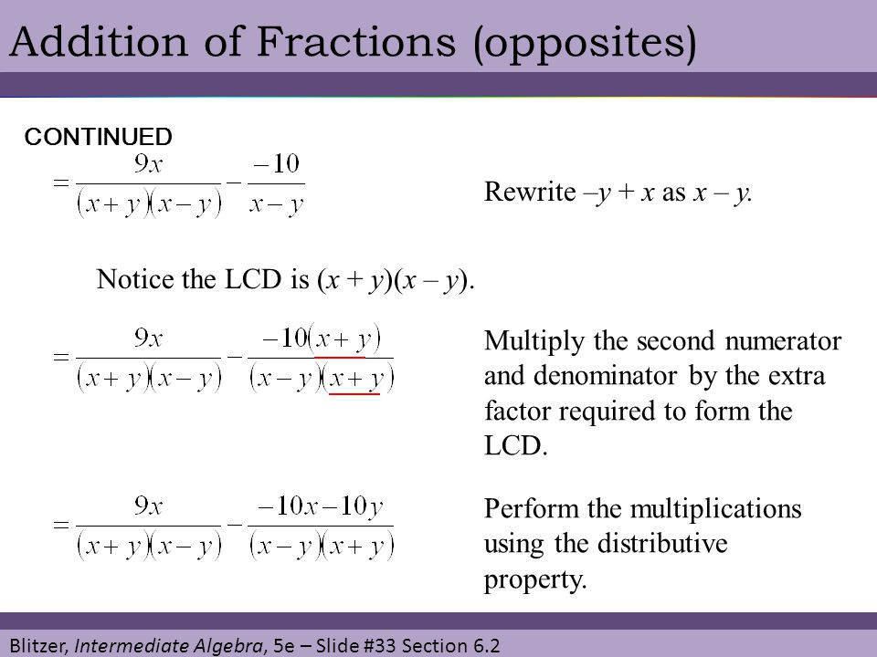 Addition of Fractions (opposites)