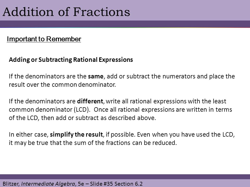 Addition of Fractions Important to Remember