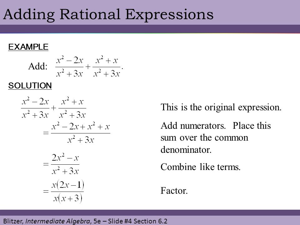 Adding Rational Expressions