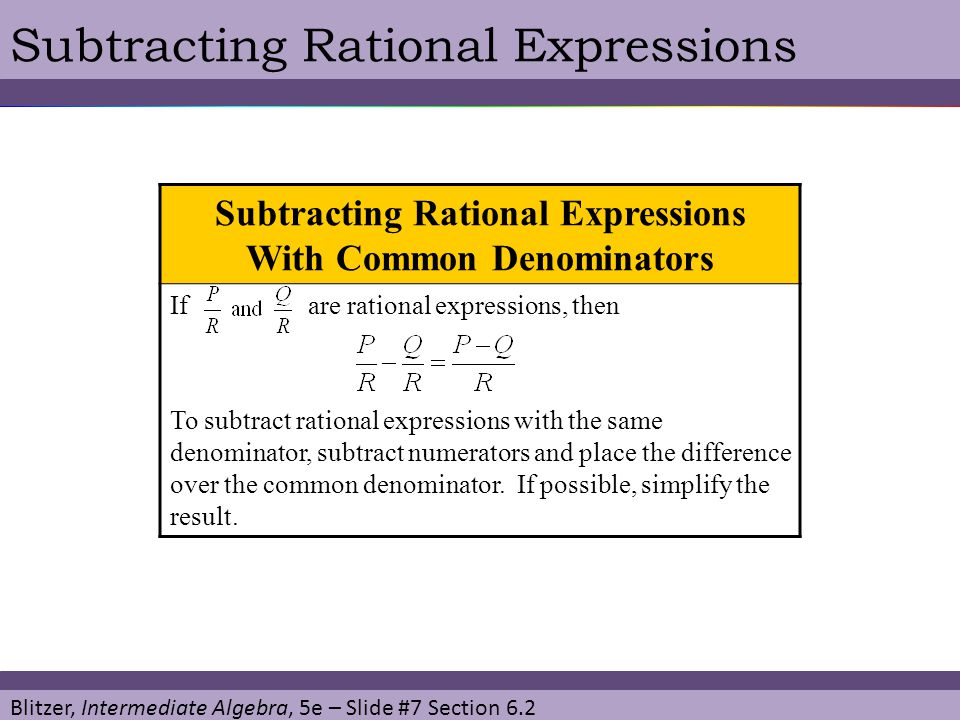Subtracting Rational Expressions With Common Denominators