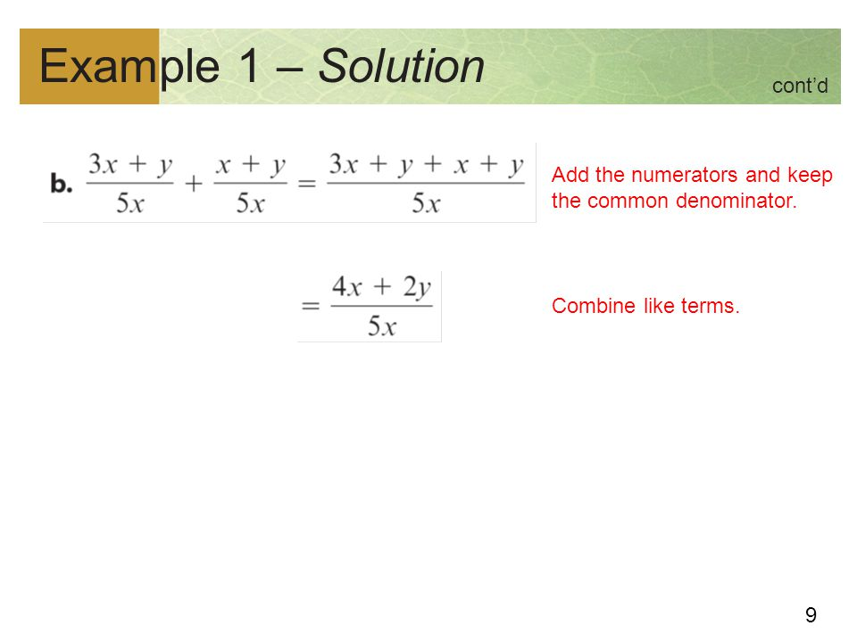 Example 1 – Solution cont'd