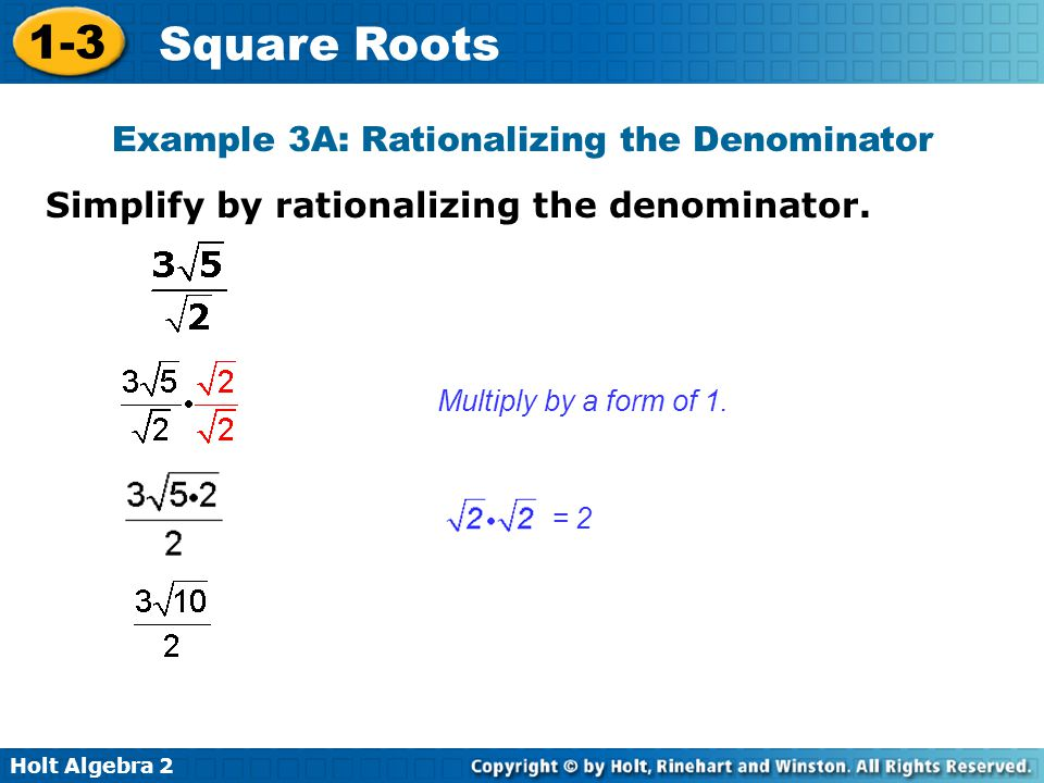 Example 3A: Rationalizing the Denominator