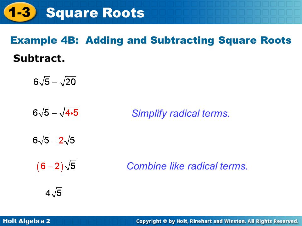 Example 4B: Adding and Subtracting Square Roots