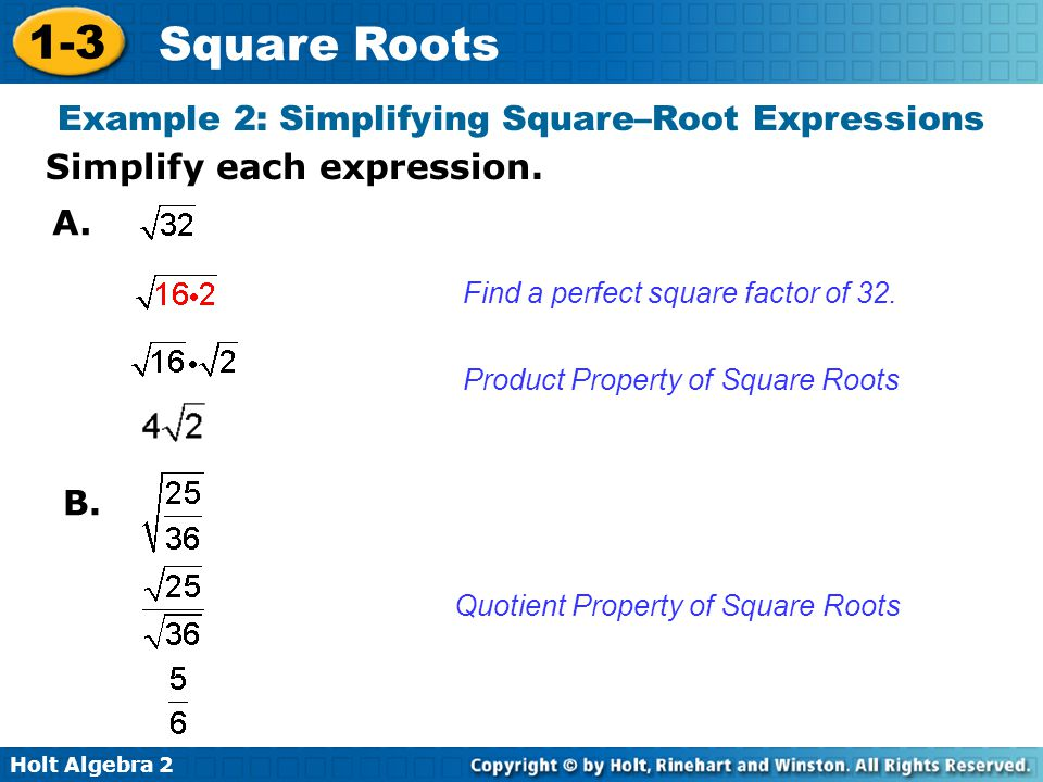 Example 2: Simplifying Square–Root Expressions