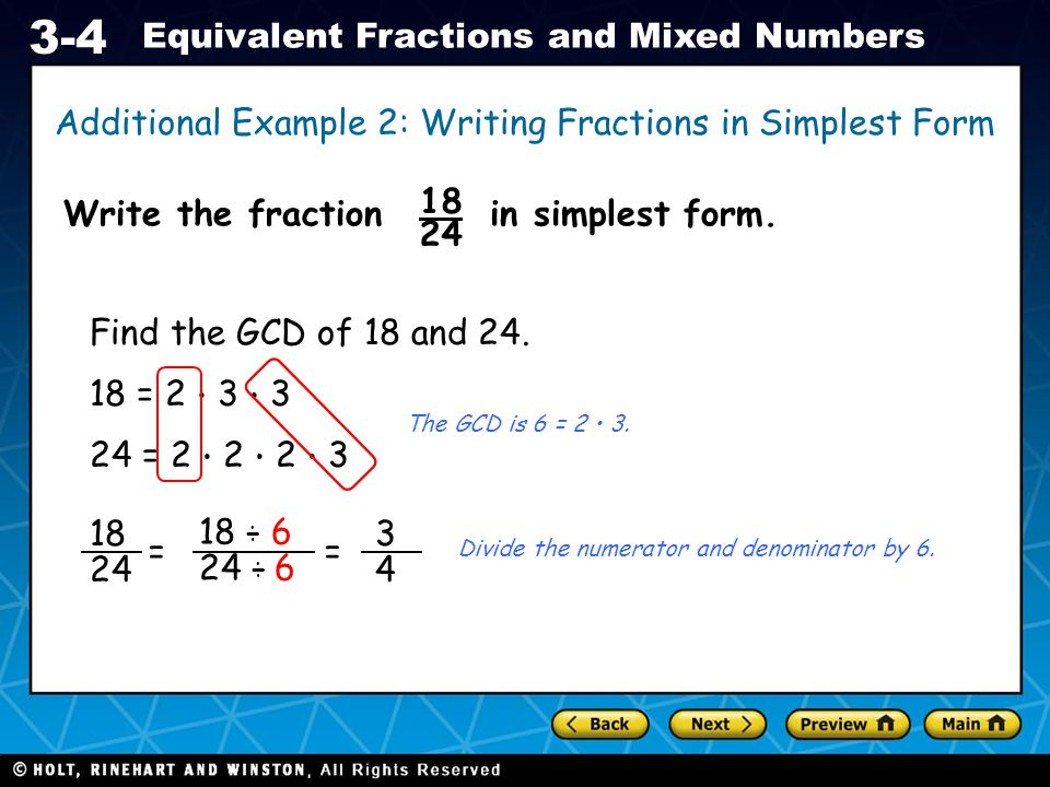 simplest form 18/24  Preview Warm Up California Standards Lesson Presentation ...