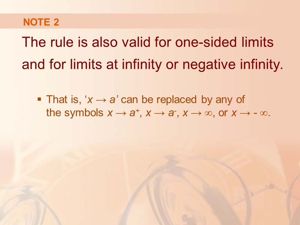 NOTE 2 The rule is also valid for one-sided limits and for limits at infinity or negative infinity.