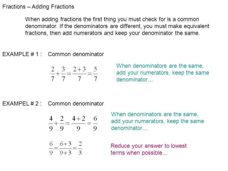 learn how to add fractions