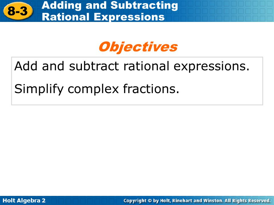 Adding And Subtracting Rational Expressions Ppt Video Online Download. Objectives Add And Subtract Rational Expressions. Worksheet. Adding And Subtracting Rational Expressions Worksheet Answers 8 2 At Clickcart.co