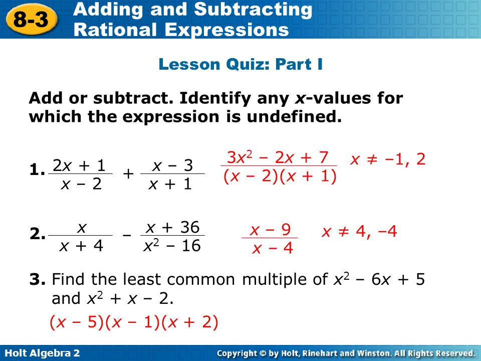 Adding And Subtracting Rational Expressions Ppt Video Online Download. Lesson Quiz Part I Add Or Subtract Identify Any Xvalues For Which. Worksheet. Adding And Subtracting Rational Expressions Worksheet Answers 8 2 At Clickcart.co