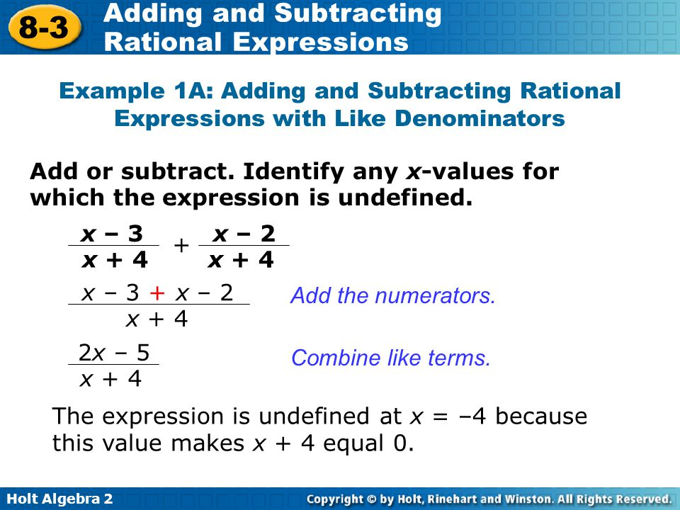 Adding And Subtracting Rational Expressions Ppt Video Online Download. Exle 1a Adding And Subtracting Rational Expressions With Like Denominators. Worksheet. Adding And Subtracting Rational Expressions Worksheet Answers 8 2 At Clickcart.co
