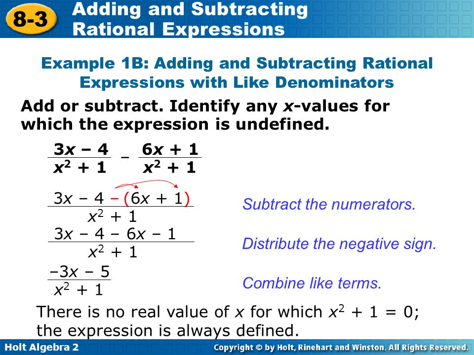 Adding And Subtracting Rational Expressions Ppt Video Online Download. Exle 1b Adding And Subtracting Rational Expressions With Like Denominators. Worksheet. Adding And Subtracting Rational Expressions Worksheet Answers 8 2 At Clickcart.co