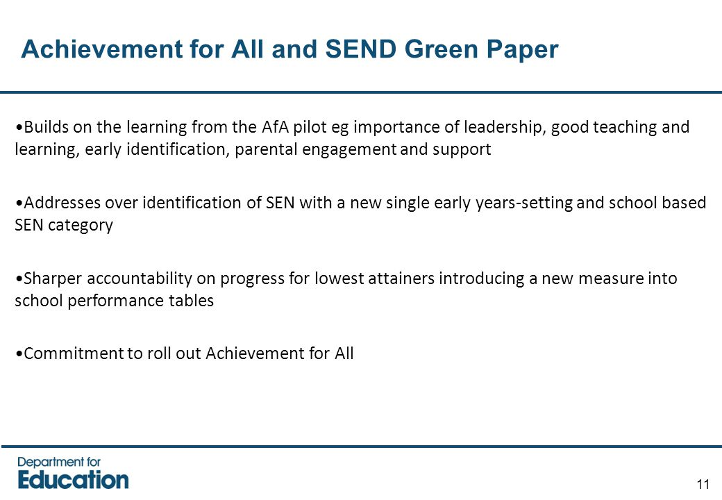 Achievement for All and SEND Green Paper