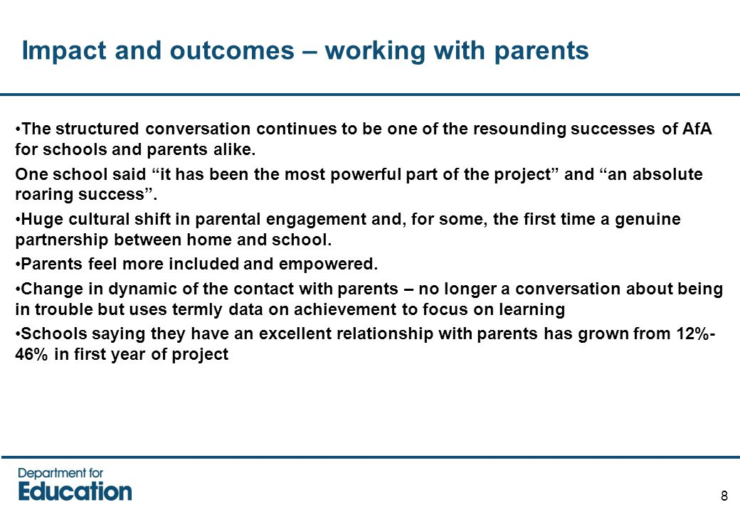 Impact and outcomes – working with parents