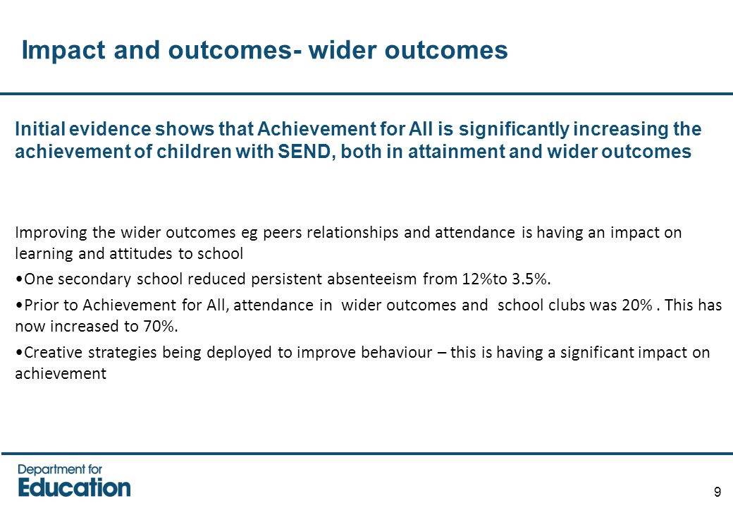 Impact and outcomes- wider outcomes