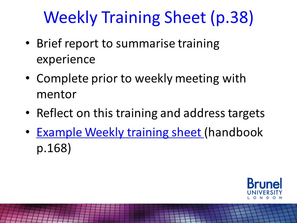 Weekly Training Sheet (p.38)