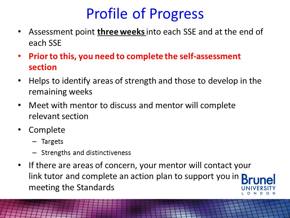 Profile of Progress Assessment point three weeks into each SSE and at the end of each SSE.