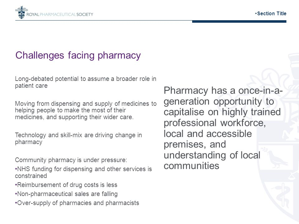 Challenges facing pharmacy