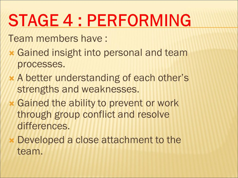 STAGE 4 : PERFORMING Team members have :