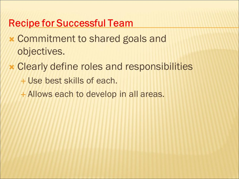 Recipe for Successful Team Commitment to shared goals and objectives.