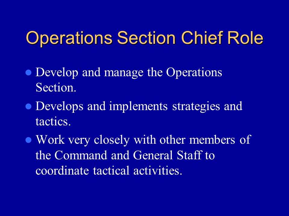 Operations Section Chief Role