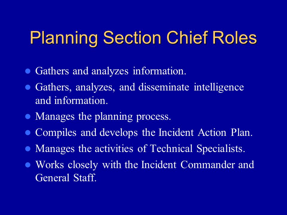 Planning Section Chief Roles