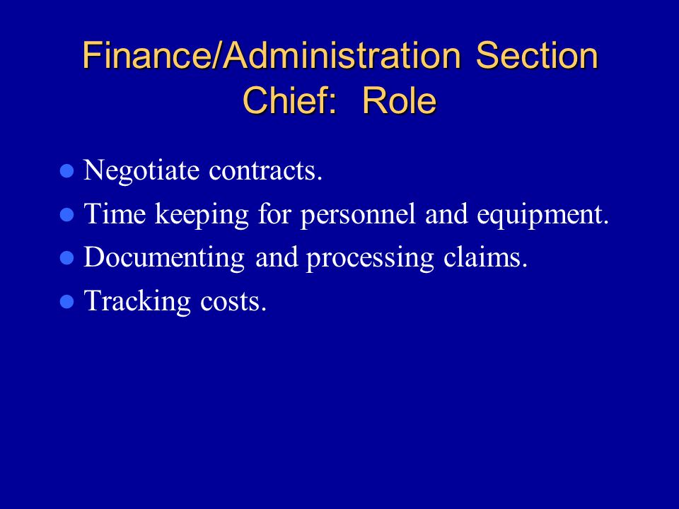 Finance/Administration Section Chief: Role
