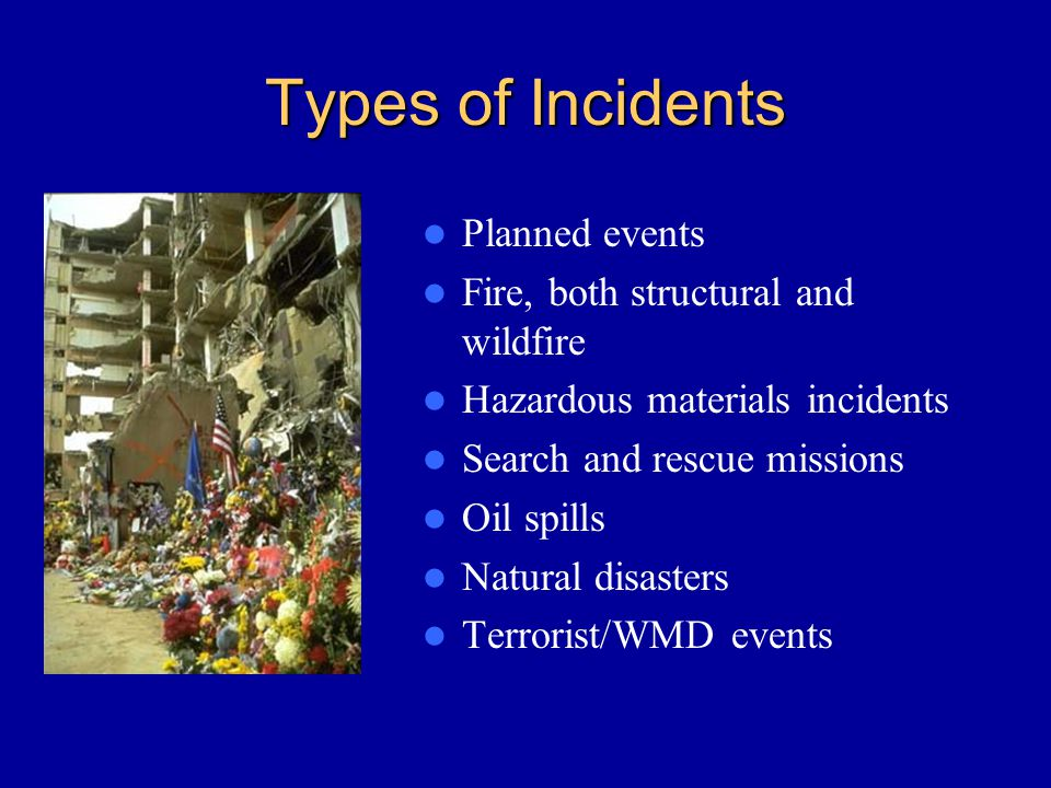 Types of Incidents Planned events Fire, both structural and wildfire