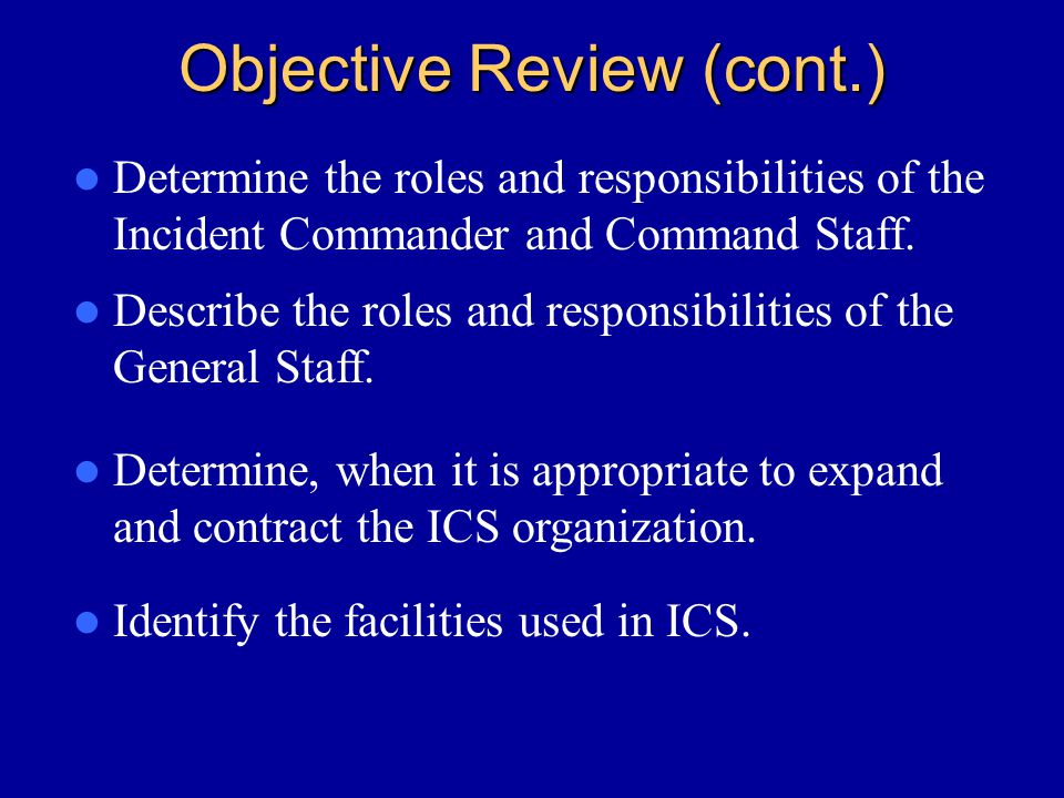 Objective Review (cont.)
