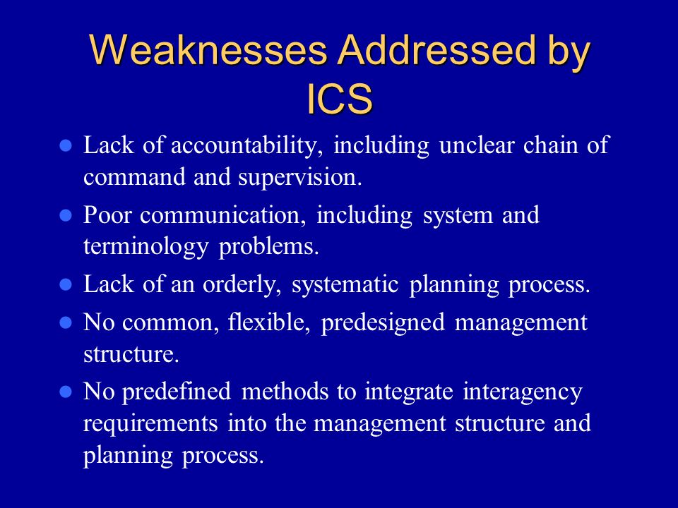 Weaknesses Addressed by ICS
