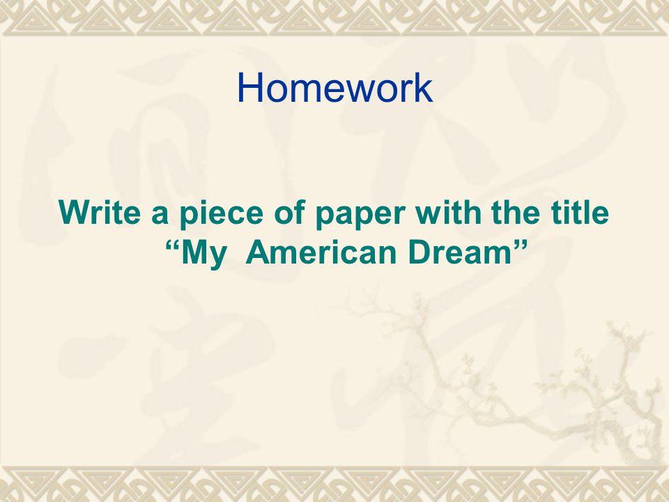 american dream titles