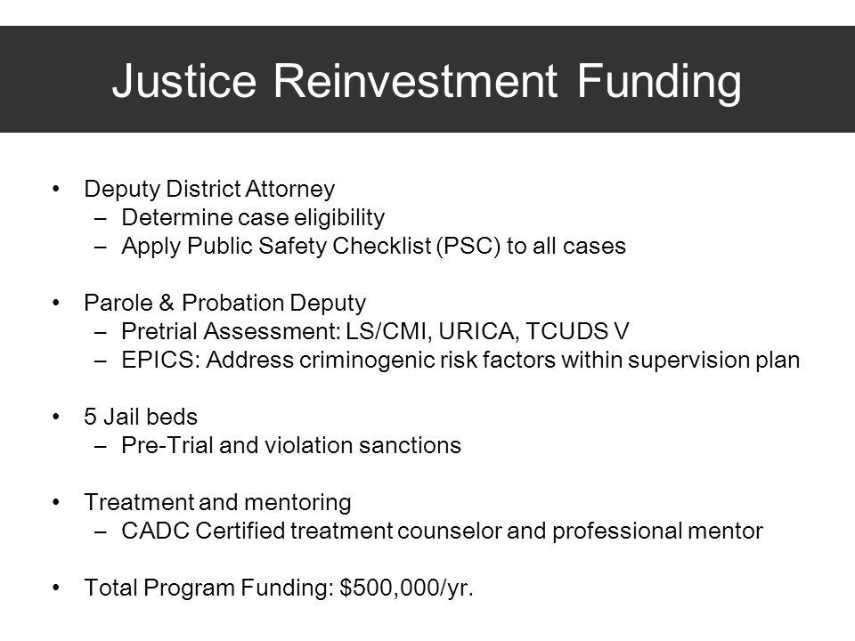 Justice Reinvestment Funding