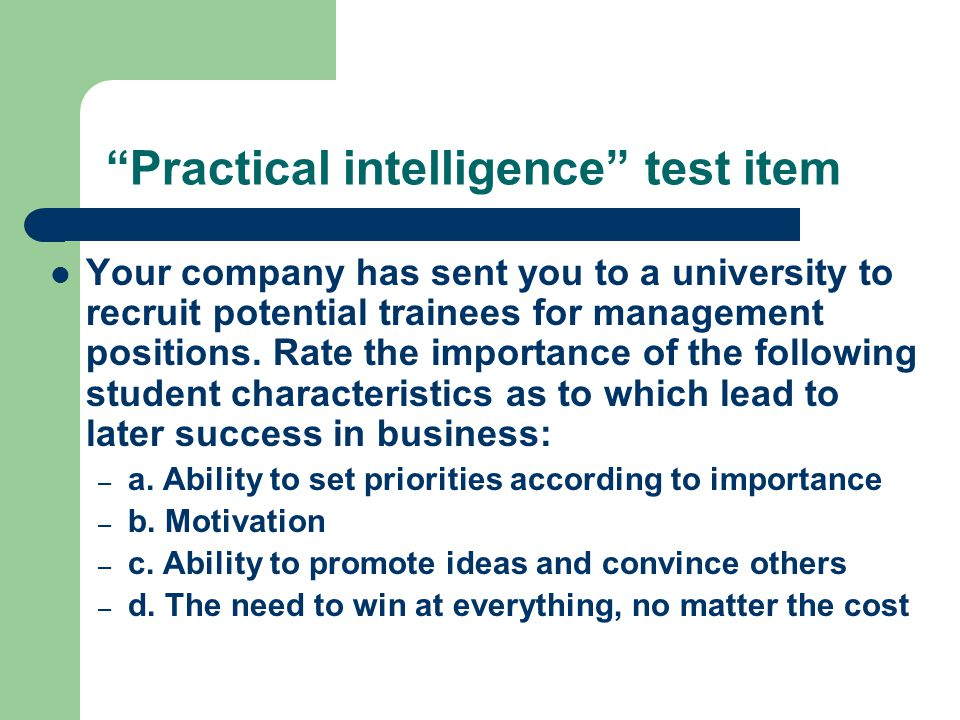 importance of intelligence test