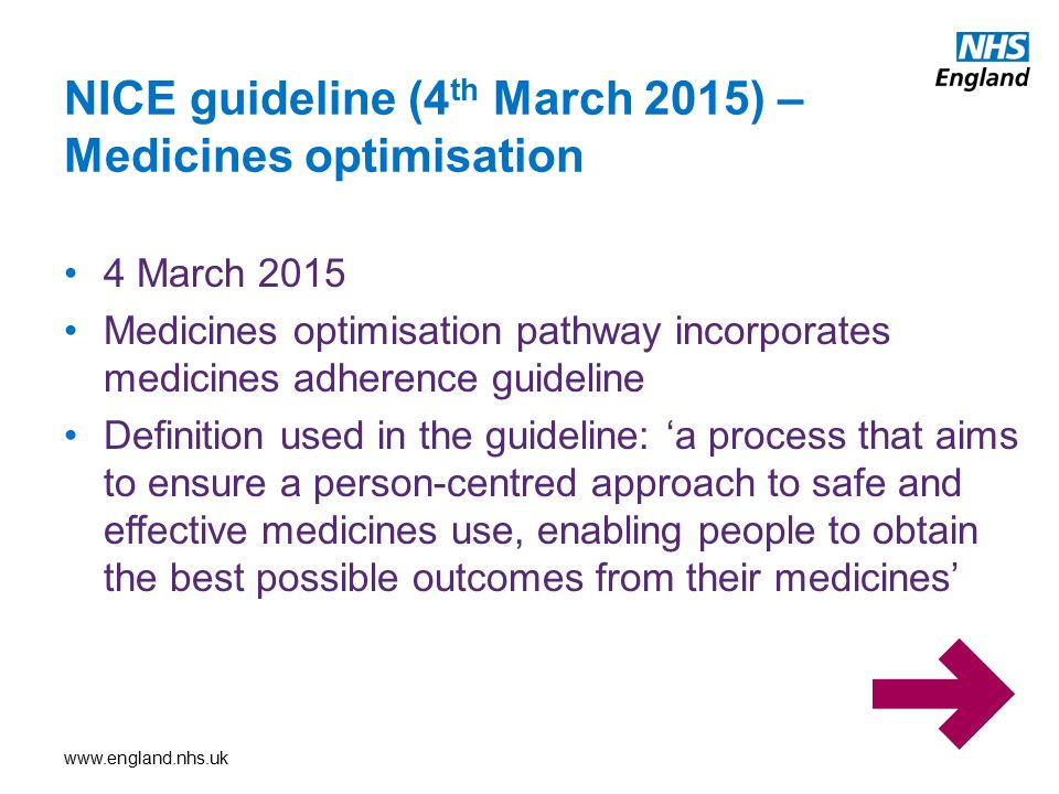 NICE guideline (4th March 2015) – Medicines optimisation